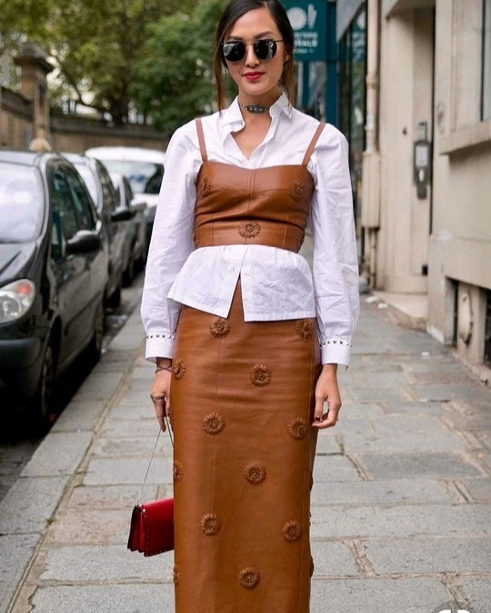 Street style leather top with white shirt