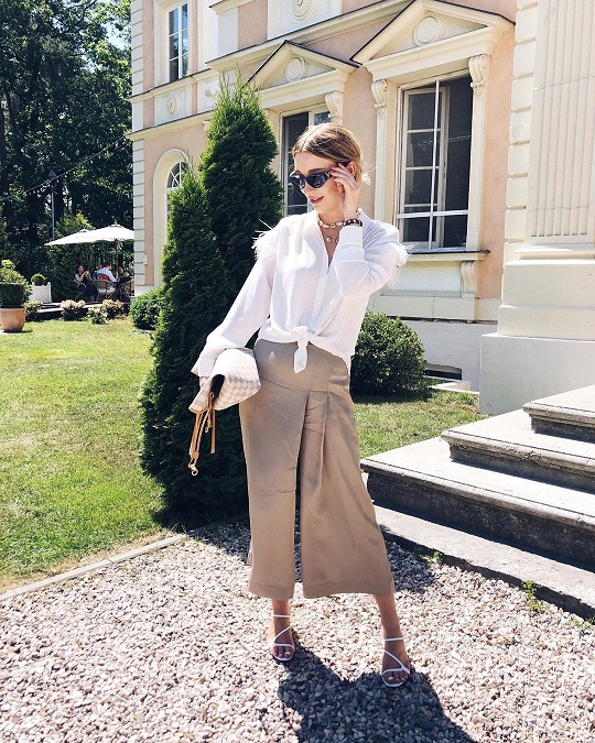 White shirt on culottes