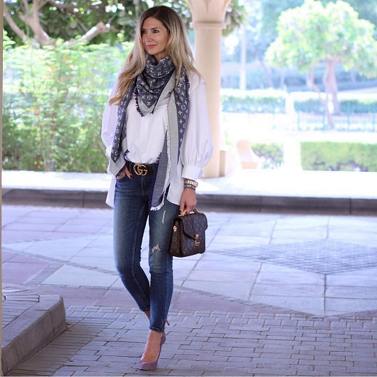 scarf on a white shirt